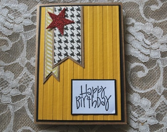 Handmade Greeting Card: Happy Birthday, Teenager Card, Masculine Card, Star, Glitter