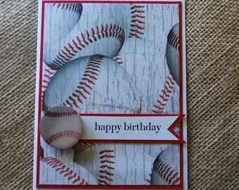 Handmade Greeting Card: Boys birthday, masculine birthday, baseball birthday card