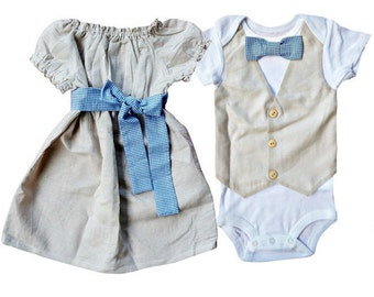 Matching Brother Sister Boy Girl Twin -Linen and Gingham-Build a Set[PDVLG]