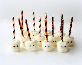 Halloween Cookies Halloween Favors Halloween Decorations Halloween Marshmallows Mummy Cookies Mummy Marshmallows Trick or Treat Mummies Boo