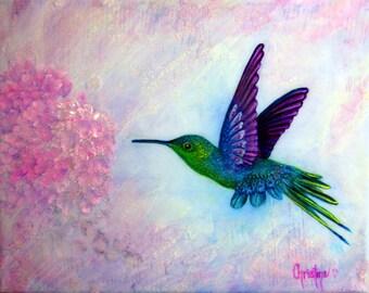Hummingbird art, humming bird art print , Tiny Diva