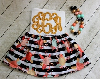 mint black pink Gold Birthday outfit floral striped birthday outfit for girl Birthday skirt set monogram shirt for toddler baby girl