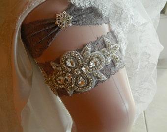 Silver  Wedding Garter, Crystal Bridal Garter Set, Vintage Inspired Wedding Stretch Lace Garter, Bridal Garter, Garter