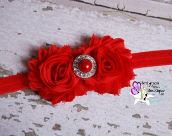 Red Double Shabby Flower Rhinestone Headband, Christmas Headband, Valentine's Day, Baby Toddler Girl Woman - SB-008F