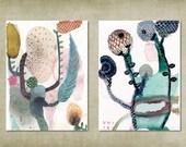 Botanische Aquarelle. Set aus 2 botanische Kunst-Druck-Karten. Abstrakte Darstellung. Florale Wandkunst. Botanisches Kunstwerk Pflanze Kunst-Drucke