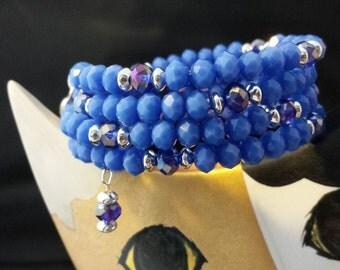 Cornflower Blue Matte Crystal Beads Memory Wire Bracelet.