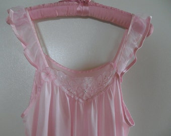 Vintage lingerie pink nighty pink nightgown pink nightie pink slip medium 34 36 38