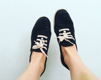 Black Canvas KEDS // 6 US / 3.5 UK / 36 Eur // Women's // Sneakers // Shoes // Minimalist // Ankle // Basic // Classic // Hipster