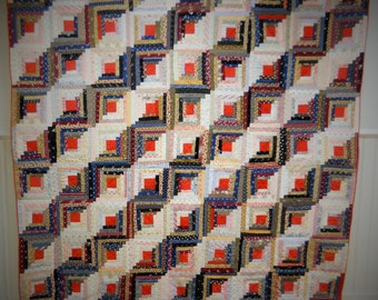 First Class!  Early 1900s,  New Hampshire, Log Cabin, Straight Furrows Quilt.  Gorgeous Fabrics.  Very Good Condition.