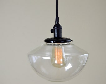 Angled Clear Glass Vintage Industrial Pendant Light Fixture School House Glass Globe