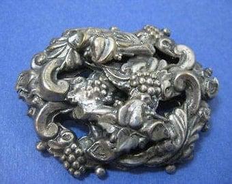 Vintage 3D Victorian Silverplate Italian-Renaissance Floral Rococo Pin Brooch