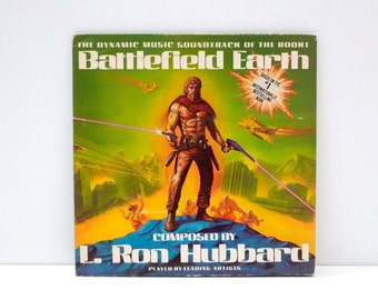 L. Ron Hubbard Vintage Vinyl Record Battlefield Earth Music Soundtrack for Scientology Book Sci Fi Drone Spaceship Alien Attack Chick Corea
