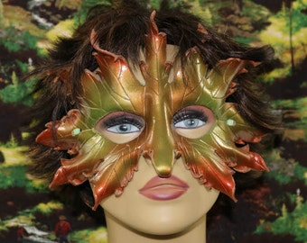 Leather autumn leaf mask with nose
