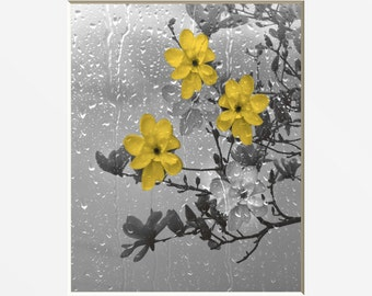 Yellow Gray Wall Art/Flowers/Tree Branch/Rain/Bathroom/Bedroom Decor Matted Picture