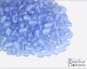 50 pcs Transparent Lt Sapphire Matte Czech Glass BABY Pinch Beads 4x3 mm (10181)