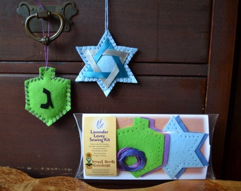 Kids Sewing Kit, Dreidel and Star of David Lavender Lovies