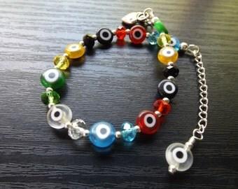 Multicolour Evil Eye Bead Bracelet
