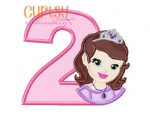Sofia the First Embroidery Design, Sofia the First Applique Design, Princess Birthday