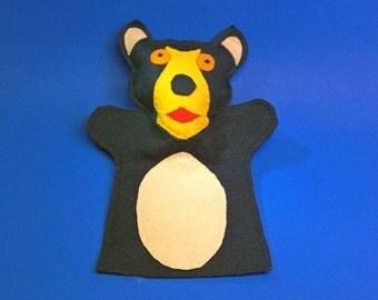 Black Bear Felt Hand Puppet