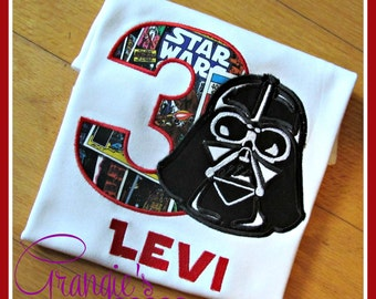 Personalized Darth Vader Star Wars Theme Birthday Party Shirt