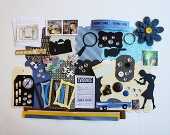 Vintage Girl Sleuth Detective Mystery Novel Custom Chipboard Mini Book Album DIY Kit Scrapbooking