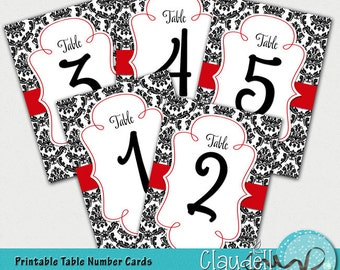 Wedding Table Numbers Cards Black Damask & Red - 300 DPI
