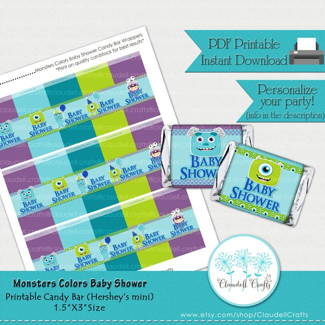 Baby Shower Monsters Colors Inspired Printable Candy Bar