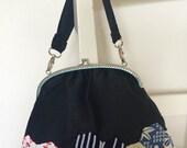 Handmade vintage kimono patchwork kiss  clasp handbag