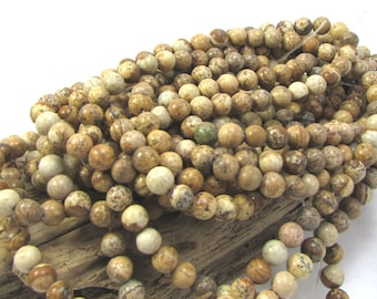 Picture Jasper Beads, Natural Multi-Colored Jasper, 6mm Round 16 inch Strand, 6mm Brown Beads, Beading Supplies, Item 659pm