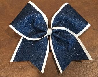 Cheer Bow - Navy Glitter on White