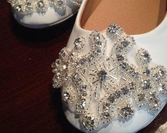 Flat Bridal Shoe,Rhinestone Shoe,Wedding Shoe, Flat Rhinestone  Shoe size 7