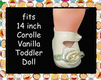 Vintage 1-15/16 inch x 1-1/4 inch Cream Doll shoes / Fits Corolle VANILLA Doll (14 inch toddler doll)