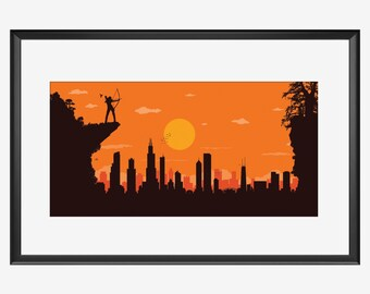 Chicago Skyline, Chicago print, Chicago art, Chicago poster, Chicago Illinois, The archer, The Hunger games inspired print, Hunger Games art