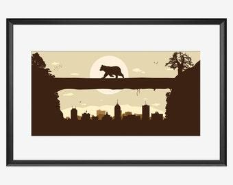 Fresno Skyline, Fresno California, Fresno print, Fresno póster, Fresno art, Bear art, Bear print, Bear poster, Grizzly Bear, illustration