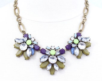 Purple Statement Necklace Crystal Necklace Chunky Bib Necklace Rhinestone Flower Necklace Floral Necklace