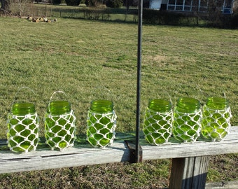 Set of 6 Green Mason Jar Pint Size Netted Lanterns