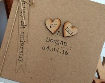 Personalised Anniversary Card, Rustic, Shabby Chic, Mr & Mrs Card, *HANDMADE*