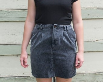 Grey Corduroy Mini Skirt Women's Medium