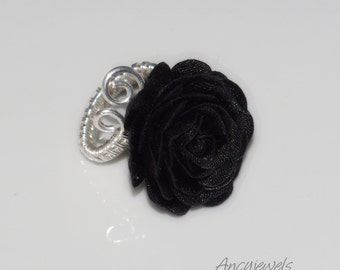 Adjustable silver plated ring/ Black rose ring