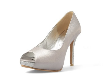 Silverado Silver Custom Made Heels, Silver Satin Peep Toe Pumps, Silver Wedding Heels, Satin and Glitter Bridal Heels
