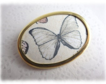 Butterfly - golden brooch fabric Textile jewelry Steampunk