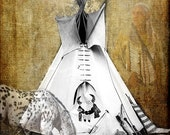 American Tribal Indian Teepee, Horse and Warrior Southwest Fine Art Photography Print For The Home Decor Free Shipping