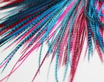 20 Real Feather Hair Extensions : B-Grade Mix #012 + Rings/Loop