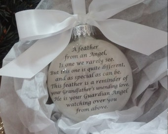 """In Memory of Grandfather Memorial Ornament w/ Angel Wing Charm """"A Feather From a Guardian Angel"""" Sympathy Gift Bereavement Heaven Ornament"""