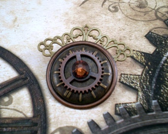 Steampunk Clockwork Eye Brooch, Mechanical Eye Pin