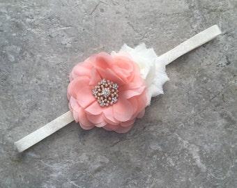 Peach ivory headband, newborn headband, baby headband, baby girl headband, flower headband, shabby chic flower, Ivory peach headband,