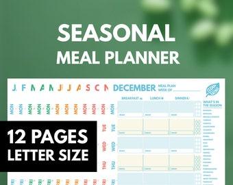 Weekly Meal Planner Printable insert, Clean Eating, Seasonal Produce guide Printable, Letter, 12 Months, Season Planner, GetWellPlan