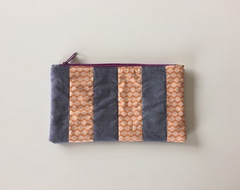 Zipper pouch with patchwork quilted front - stripes, orange floral, blue