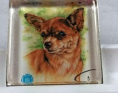 Chihuahua Dog Puppies Dogs Golden Short Hair Mexico Taco Bell Genuine Postage Stamp Pendant Key Ring