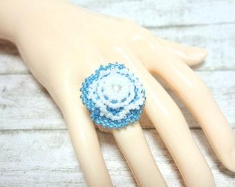 Ring Pearl ring flower ring threaded ring TOHO seed beads light blue white